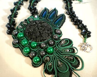 Carved Green/Black Jade with Beetle Wings Accent Soutache and Swarovski Crystals Necklace