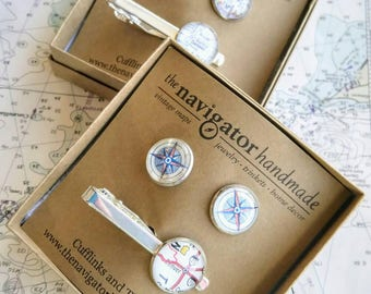 CUSTOM Silver Cufflinks and Tie Bar Set: Vintage Map Accessories, Gift for Him