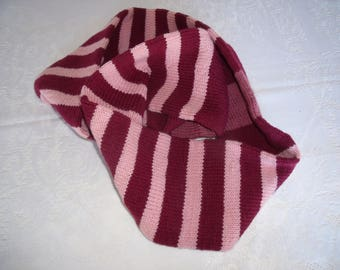 Burgundy and rose striped Infinity scarf  hand-knit