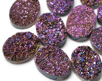 Purple Druzy, Druzy Cabochon, 16x12mm Oval Shaped Druzy, Cabochon, Druzy Stone, Jewelry Making Supplies (PZ-80016)