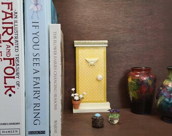 Indoor Yellow Shabby Chic Fairy Door with Bee Embellishment and Fairy Flower Pot