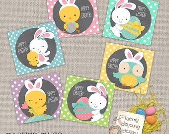 Easter Tags, Printable Easter Treat Labels, Instant Download treat bag tags, Easter bunny, chick, owl tags, baskets, party favors for kids