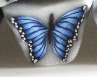 Blue Morpho Butterfly Cane, Polymer Clay Flutterby Cane e437