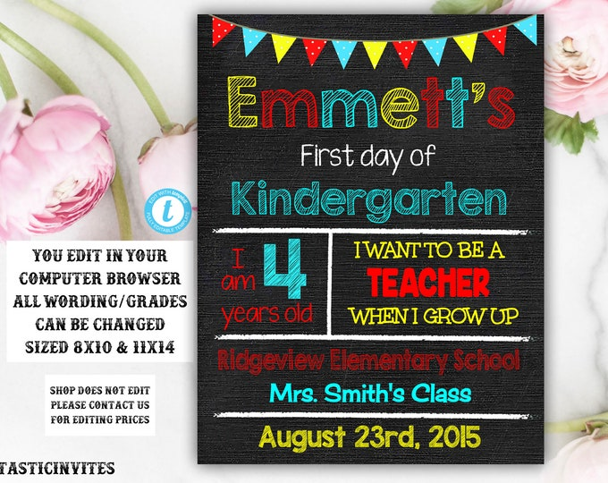 First Day of School Sign, Back to School, Printable Chalkboard Poster, First day of Kindergarten Sign, Instant Download, Printable Sign, DIY
