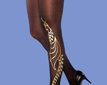 Gold dragon tights, available in S-M, L-XL