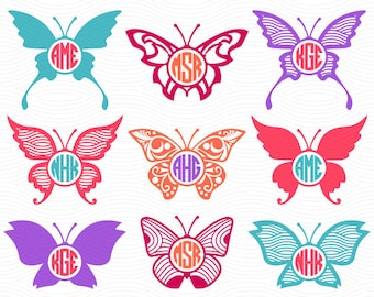 Butterfly Circle Monogram Labels (SVG, EPS, DXF Studio3) Cut Files for use with Silhouette Studio, Cricut Design Space, Cutting Machines