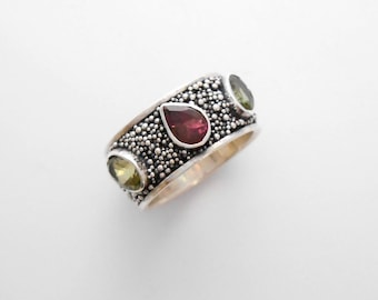 Silver sterling three Tourmaline gemstone ring band / granulation technique  / Bali handmade jewelry / silver 925 / only size 6.25 / (#709m)