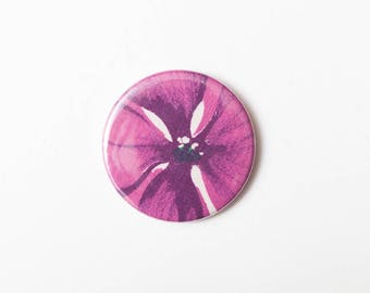 Purple Magenta Petals - A Pocket Mirror made from Vintage Fabric, 58mm 2.3 Inches, Vintage Floral Fabric