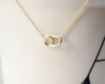 Tiny Gold Eternity necklace, infinity necklace, circle necklace, love knot necklace/ dainty, simple, birthday, wedding, bridesmaid jewelry