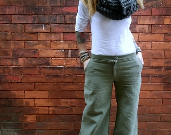 Green Grey Low Rise Wide Leg Cotton Women's Pants with Pockets|Plus Size Pants|Retro Pants|Hippie Pants|Wide Leg Jean|Vintage Pants|