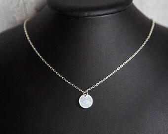 Tiny Silver Necklace, Dainty Silver Necklace, Tiny Silver Disk Necklace, Simple Silver Necklace, Everyday Necklace, Tiny Silver Pendant