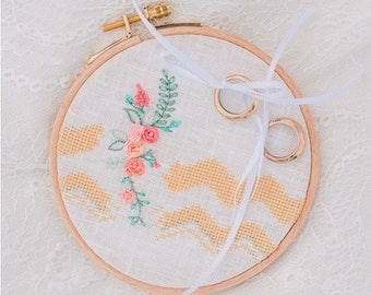 Sweet chevron ring pillow with pretty flowers {hand embroidered with love}