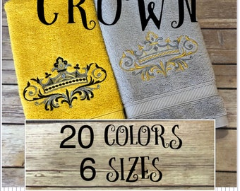 Crown towels, 20 colors, 6 sizes, august ave, wedding, wedding gift, his and hers, crown, royal, royalty, king, queen, bath towels, bathroom