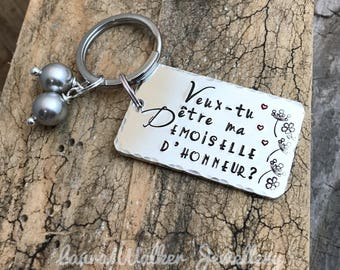 Hand Stamped Veux tu être ma Demoiselle d'Honneur?, Personalised Message French Bridesmaid Keyring