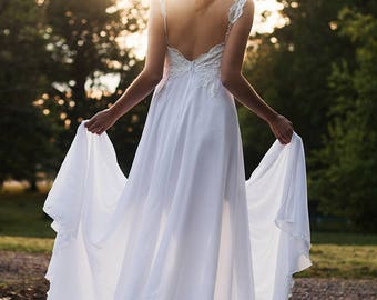 Beach Wedding Dress - Lace WeddIng Dress - Boho Wedding Dress - Backless Wedding Dress - Bohemian Wedding Dress - Chiffon Wedding Dress