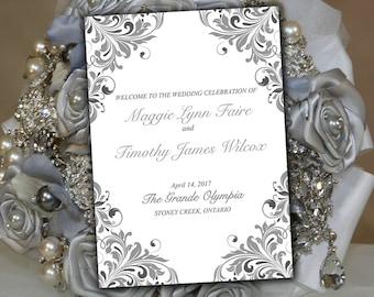 "Fold Over Wedding Program Template Heather Gray Charcoal Silver ""Maggie"" Half Fold 5 x 7 Beach Program DIY Wedding Template Order of Service"