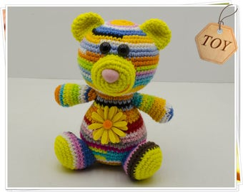 Crochet Bear Toy Amigurumi Teddy Bear Toy Crochet Teddy Bear Stuffed Bear Toy Soft Toy Bear Crochet Rainbow Teddy Bear Toy Multicolor Bear