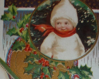 U/S Clapsaddle Little Child in White Snowsuit, Stars and Holly Antique Christmas Postcard