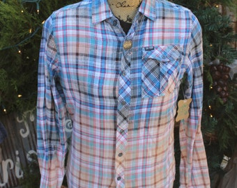 S Destroyed Flannel Shirt / Distressed Flannels / Size Small Flannel Shirt / Long Sleeve Plaid Flannel / Bleached, grunge Dipped Shirt  FF77