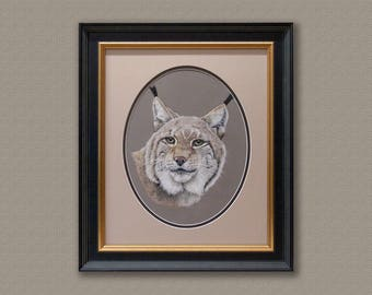 Original Pastel painting of a Lynx Art Work Free Shipping.