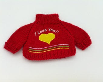 I Love You Bear Sweater for 12 to 14 Inch Bear or Stuffed Animal