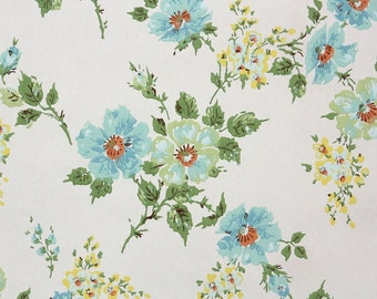 Retro Wallpaper by the Yard 70s Vintage Wallpaper – 1970s Blue and Mint Green Flowers