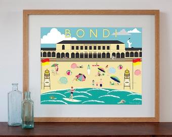 Bondi Beach Vintage Style Art Print