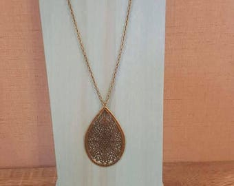 30 inch bronze necklace with bronze filigree pendant