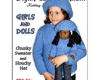 """PDF Knitting Patterns, matching girls 4-10, and dolls sweaters, fits American Girl, 18"""" inch, Instant Download"""