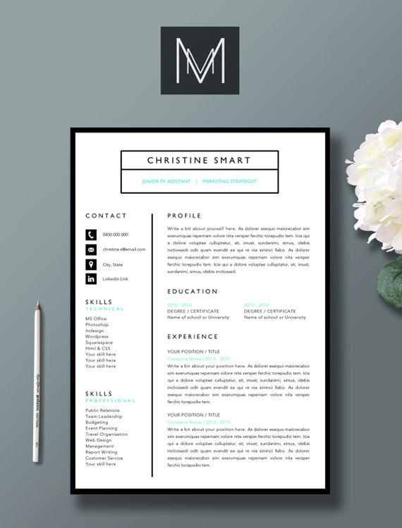 Pack  Page Resume Template  Page Cover Letter