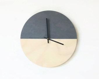 Wall Clock, Gray Wood Clock, Housewares, Home and Living