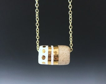Ceramic Bead Necklace, cylinder bead necklace, ceramic gold and white bead on gold-toned chain, handmade jewelry, handmade necklace, stripes