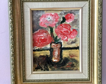 Pink Flowers in a Brass Vase (Original acrylic painting)