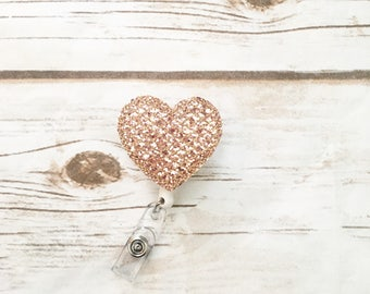 Nurse Badge Reel - Valentines Day - Heart - Nurse Name Badge - Rose Gold - Nurse Badge Holder - Felt Badge Reel - Gift