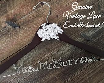 Vintage Lace Wedding Hanger, Bridal Hanger, Bride Hanger, Wedding Hanger, Rustic Hanger, Vintage Wedding, Personalized Hanger,Rustic Wedding