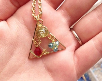 Legend of Zelda Spiritual Stones and Triforce Necklace
