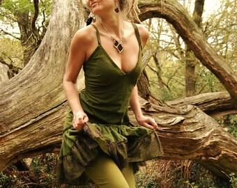 Festival dress, Green tunic dresses, For summer, Funky clothing for women, Sundress, Rave wear, Goa clothes, Mini, V neck, spaghetti straps