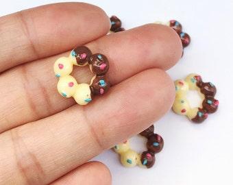 3pcs.13mm.Miniature Doughnuts Cabochon,Miniature Sweet,Cabochon,Resin,Miniature Doughnuts,Mobile Accessories,Cabochon Sweet,Doughnuts Resin