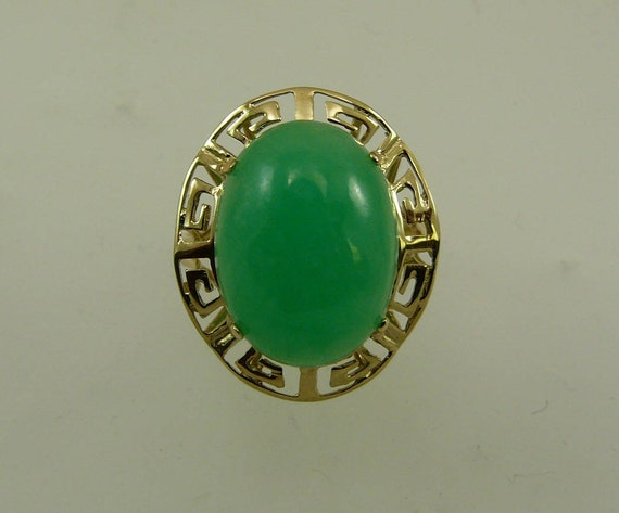 Green Jade 15.9 mm x 11.8 mm Ring 14k Yellow Gold