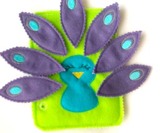 Quiet book page - Build a Peacock - toddler quiet book - felt busy book - activity learning page - church quiet toy - gift for kids