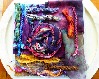 Hope Jacare Creative Textiles Hand dyed silk fabric, thread and recy. sari ribbon pack  - Large 04