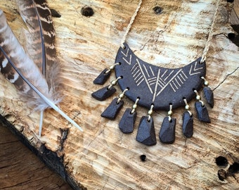 Tribal Large Clay necklace ~