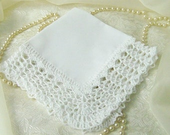 White Lace Handkerchief, Lace Hanky, Hand Crochet, Crochet Handkerchief, Custom Embroidered, Personalized, Monogrammed, Ready to ship