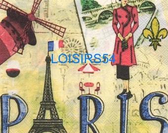 Paris and Moulin Rouge - 33 cm x 33 cm paper towel