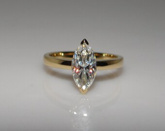 On Sale! Stunning Marquise Cut Moissanite Engagement Ring in 14k Gold, Diamond Alternative engagement ring