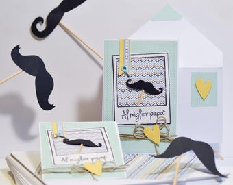 DAD WITH MUSTACHE | Card and envelope for your birthday to Dad