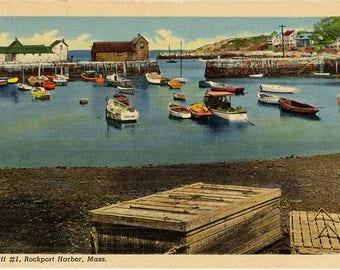 Rockport Harbor Massachusetts Boats Vintage Postcard (unused)