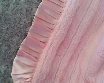 Pink Faux Fur Minky with Silver Rosebud Minky Baby Blanket.