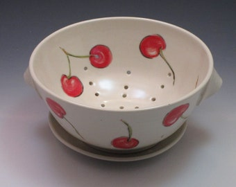 Pottery berry bowl colander with saucer, handpainted with cherries, handthrown porcelain