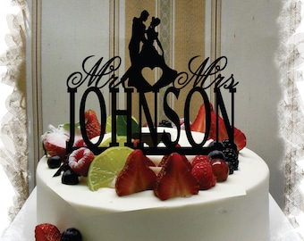 Wedding Cake Topper, Cake Topper for Wedding, Silhouette Wedding Cake Topper, Personalized Last Name Cake Topper, Mr and Mrs Cake Topper #42